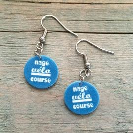 """Boucles d'oreilles """"nage / vélo / course"""""""