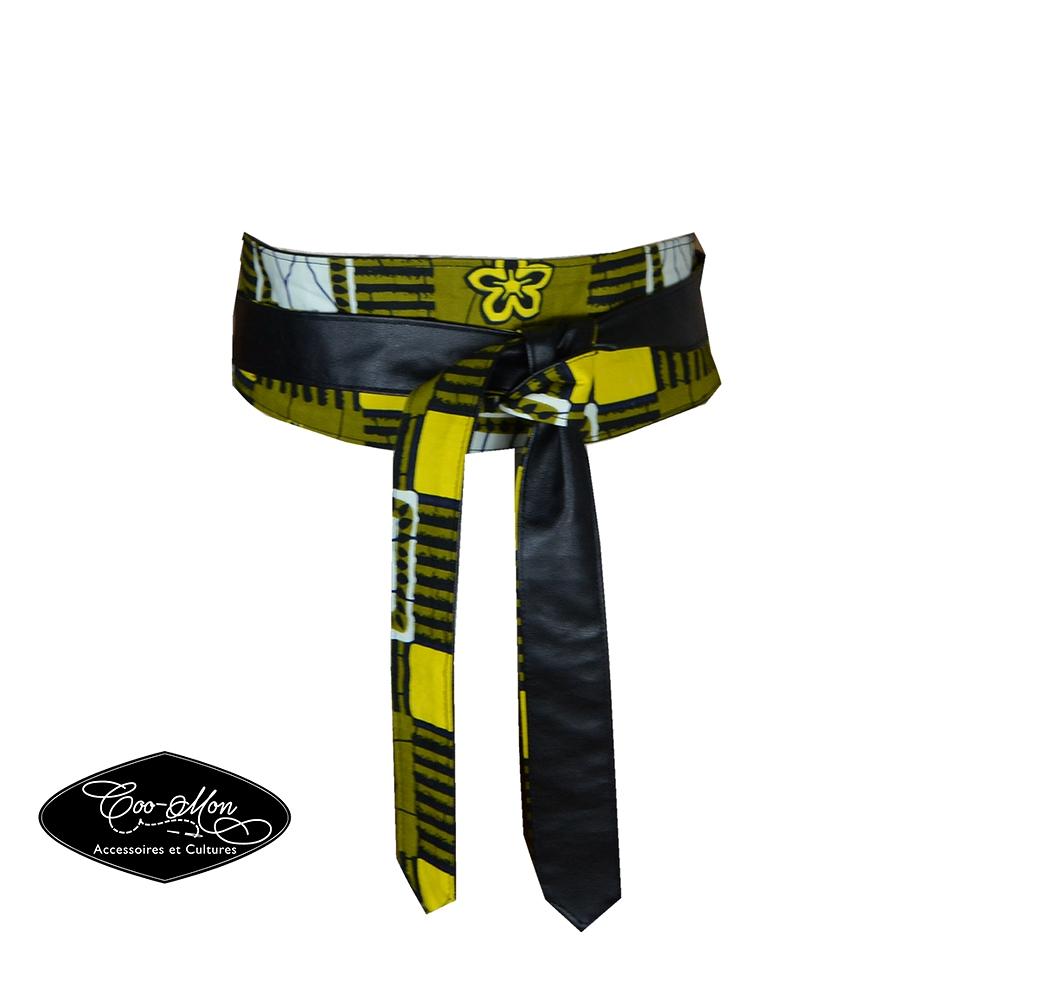 Ceinture obi, ceinture obi réversible, ceinture en wax, ankara, ceinture  verte, jaune et noire, robe femme, ceinture femme enceinte 3fc1121da05