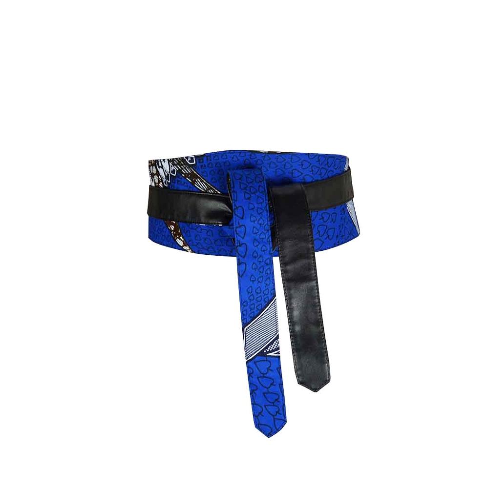 Ceinture large à nouer femme faux cuir et wax pagne africain-bleu e372d5606f9