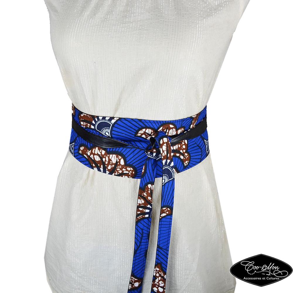 Ceinture femme en wax, ceinture obi bleu, ceinture à nouer, blue obi belt,  ceinture à lanières fines, réversible, faux cuir, S, M, L, XL 642e61de776