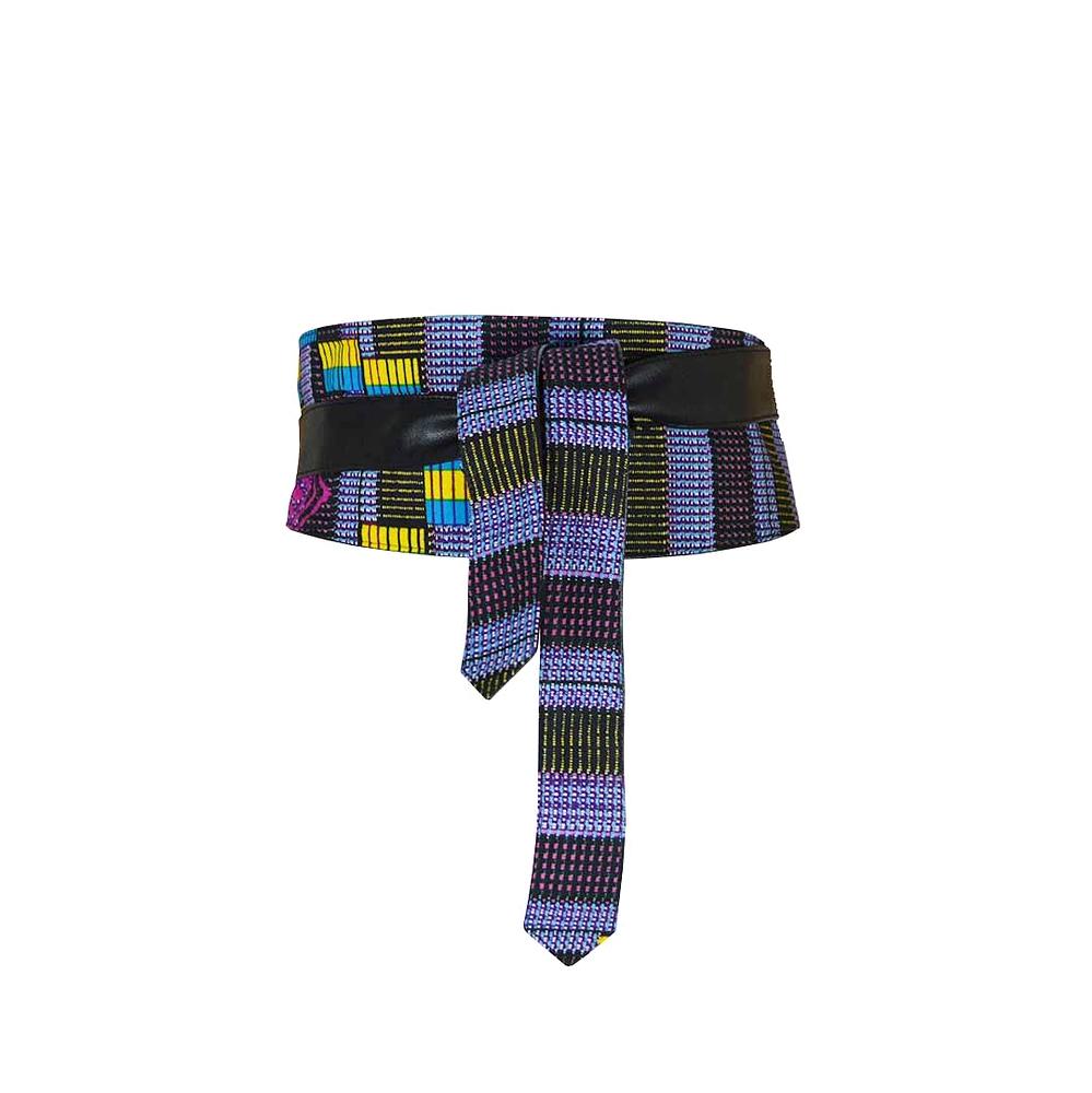 e3e1b762bf56 ceinture large à nouer, réversible pagne africain et faux cuir, bleu à  carreaux