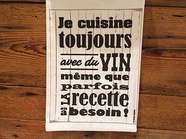 """Linge à vaisselle """"Cuisiner avec du vin"""""""
