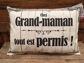 "Coussin ""Grand-maman tout permis"""