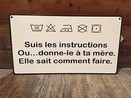 Affiche ''Suis les instructions''