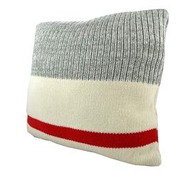 Coussin Bas de laine rouge et gris