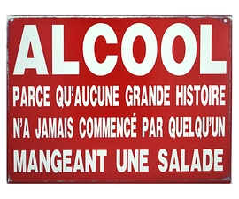 Affiche en métal '' Alcool''