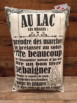 """Coussin """"Au lac les règles"""""""