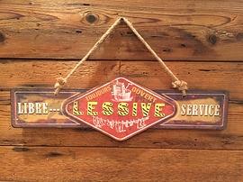 Affiche en métal ''Lessive libre service''
