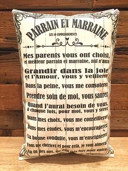 """Coussin """"Parrain et Marraine"""""""