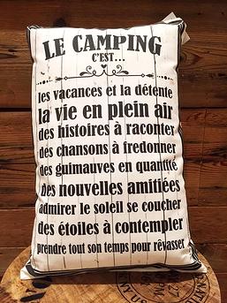 """Coussin """"Le camping c'est..."""""""