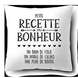 """Coussin """"Recette du bonheur"""""""