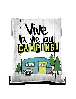 """Coussin """"Vive la vie au camping"""""""