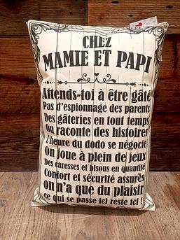 Coussin ''Chez mamie et papi''