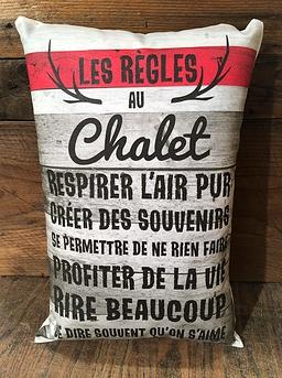 """Les règles au chalet"" cushion"