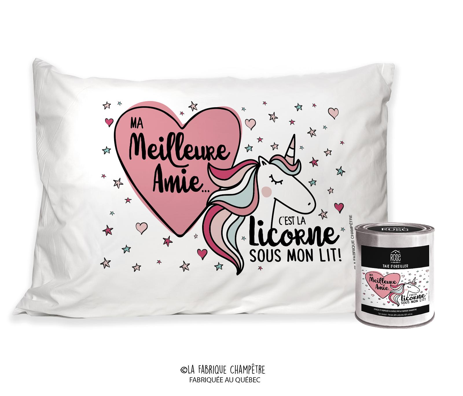 """Image Pour Ma Meilleure Amie dedans taie d'oreiller """"ma meilleure amie c'est la licorne sous mon lit"""