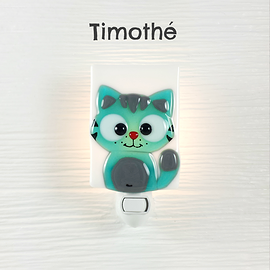 Veilleuse - Chat turquoise - Timothé