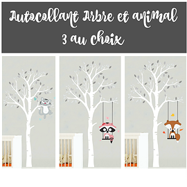 3 wall stickers - Tree and animal