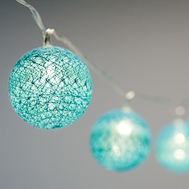 Guirlande lumineuse avec globes turquoises - 10 DELS