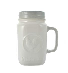 Tasse blanche pot mason - Coq
