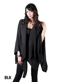 Cape en tricot - Noir ou rose