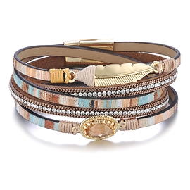 Bracelet en cuir - Brun et bleu avec plume