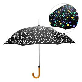 Parapluie à pois qui devient multicouleur