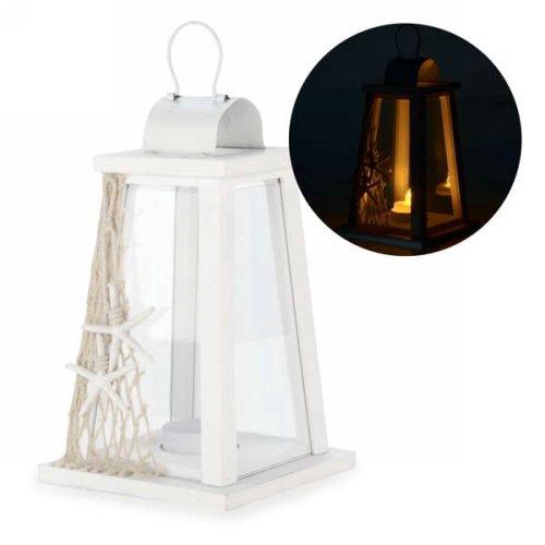 lanterne blanche avec filet et toile de mer kozy cadeaux d co. Black Bedroom Furniture Sets. Home Design Ideas