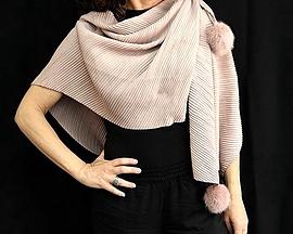 Foulard à pompons - Yasmin - Rose ou gris