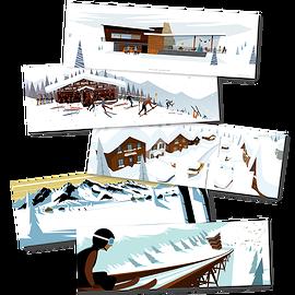 "Set of 5 postcards ""Snow Arts"""