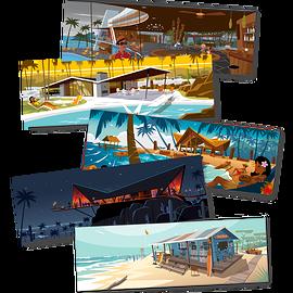 "Set of 5 postcards ""Tropical place"""