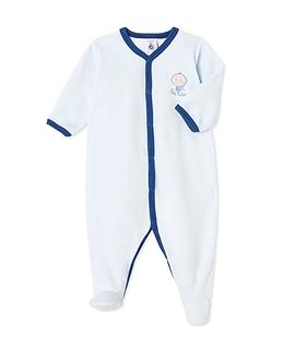 PETIT BATEAU- Pyjama bleu en velours