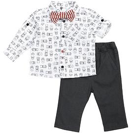 PETIT LEM - Ensemble chemise pantalon avec noeud papillon rouge