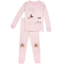 PETIT LEM -Pyjama rose rayé chouette
