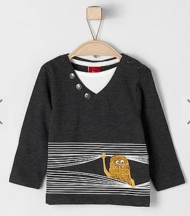 S. OLIVER - T-shirt à manches longues anthracite col en v