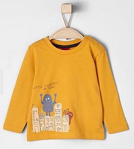S. OLIVER - T-shirt à manches longues couleur moutarde imprimé de monstre