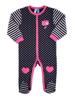 NANO- Pyjama à pois et manches à rayures avec ouverture latérale