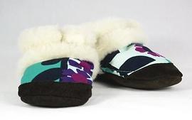 PETITS MINOUS - Pantoufles fourrées de laine 'Botanique'