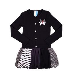 NANO- Robe ballon manches longues avec découpes multi-imprimées à la jupe