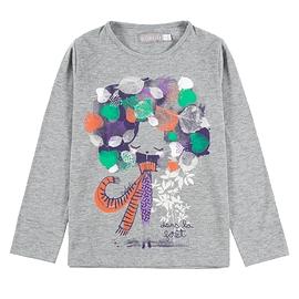 BOBOLI- T-shirt gris manches longues feuilles