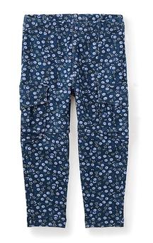 TEA COLLECTION - Pantalon cargo souple marine à motif fleuri 'Pin Pin'