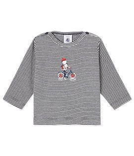 PETIT BATEAU- T-shirt rayé manches longues marine