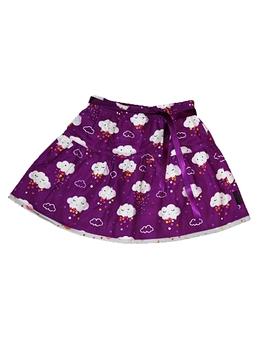 ALICE ET SIMONE - Jupe réversible nuage violet et parapluies gris