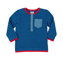 HATLEY - T-shirt à manches longue gaufré bleu à rayures