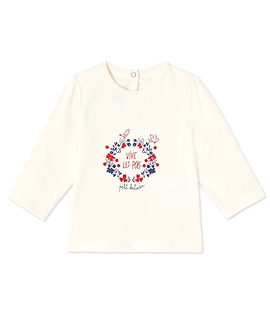 PETIT BATEAU- T-shirt manches longues 'Vive les pois'