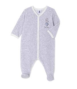 PETIT BATEAU- Pyjama en velours gris