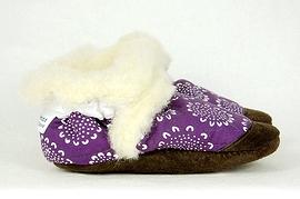 PETITS MINOUS - Pantoufles fourrées de laine de mouton - Tournemauve