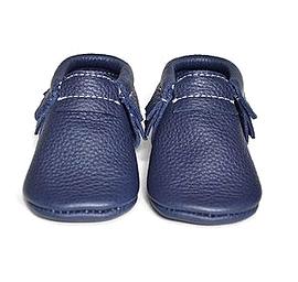 VIC & TED - Chaussons souples en cuir bleu minuit.