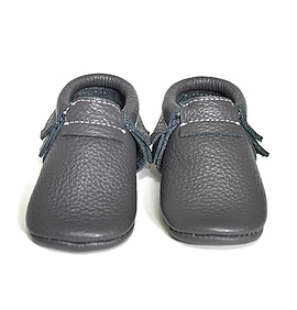VIC & TED - Chaussons souples en cuir charcoal.