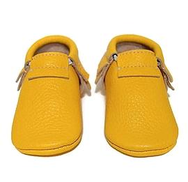 VIC & TED - Chaussons souples en cuir jaune.
