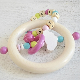 ADP6 - Personalized Teething toy rainbow cloudy, turquoise / lemon / pink
